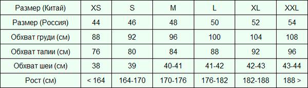 размеры на али для мужчин таблица